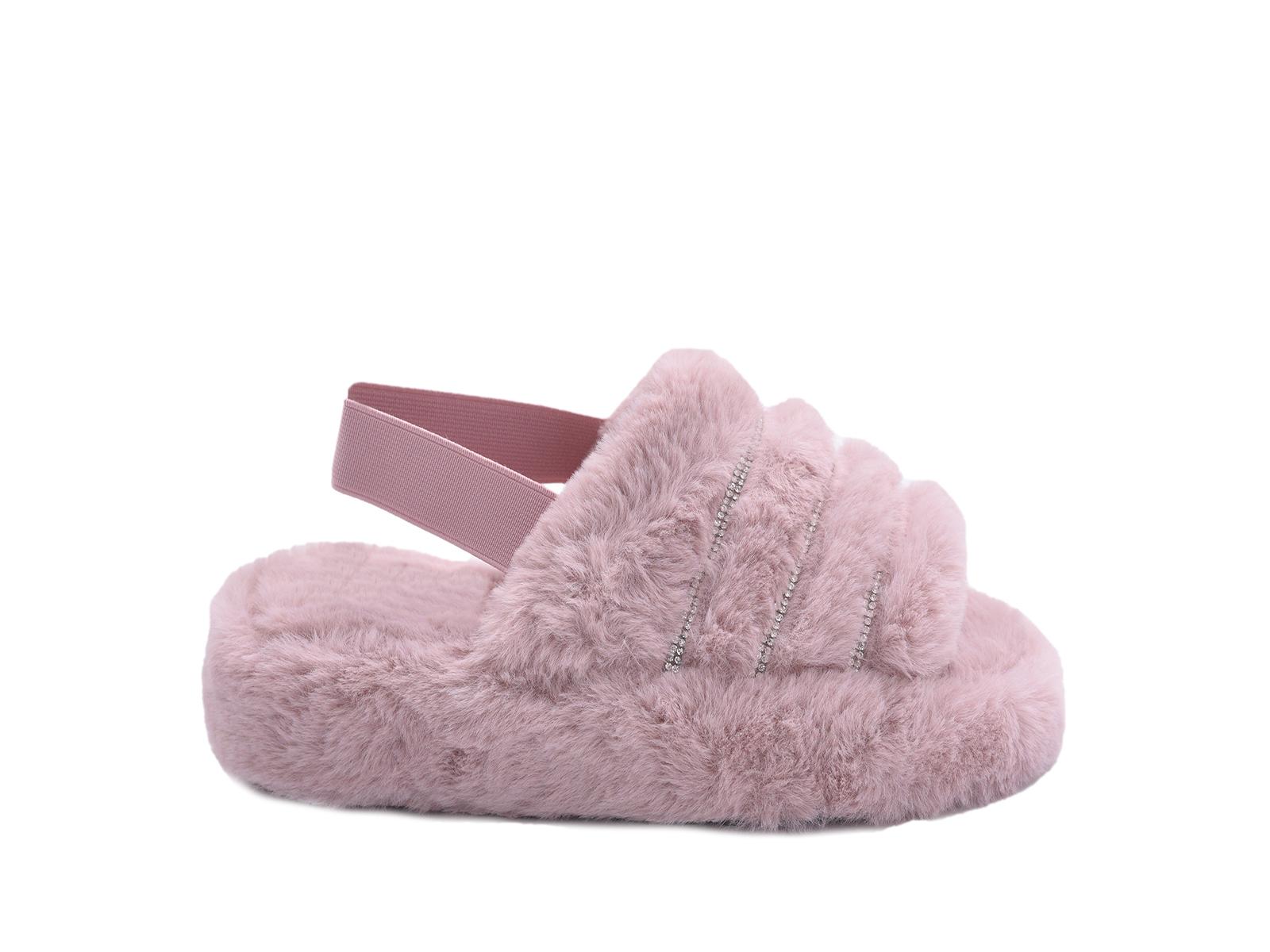 Ροζ fluffy γούνινες παντόφλες με λάστιχο ΓΥΝΑΙΚΕΙΑ