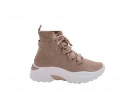 Μπεζ γυναικείο Sneaker μποτάκι με κάλτσα